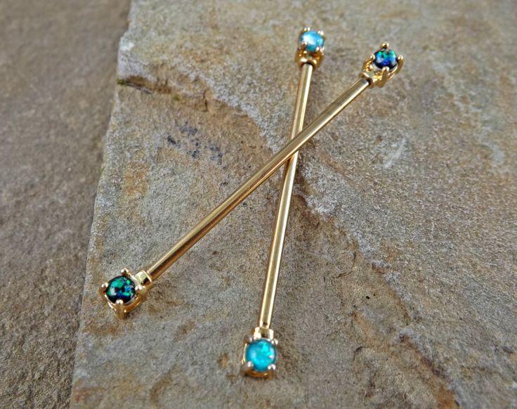 Gold Opal Industrial Barbell Opal Ends Scaffold Piercing 14ga Body Jewelry Piercing Jewelry