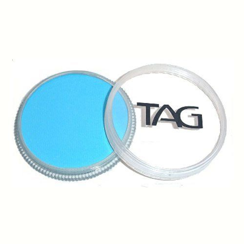 TAG Face Paints - Light Blue (32 gm) by TAG Body Art. $6.47. Each 32 gram TAG Face Paint Container is good for 50-200 applications.. TAG Face Paint is very easy to blend, soft on the skin and does not crack or peel.. Great for line work. TAG face paint is hypoallergenic and made with non-toxic, skin safe ingredients.. TAG Light Blue Face Paint is very easy to blend, soft on the skin and does not crack or peel. Most of TAGs face painting colors are great for line work and lighter ...