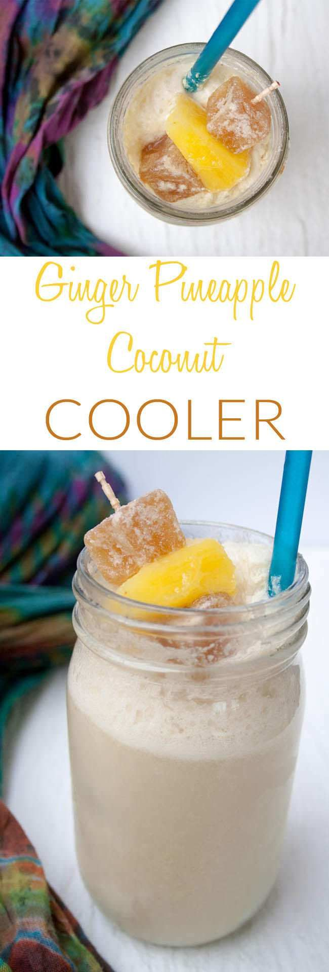 Ginger Pineapple Coconut Cooler (vegan, gluten free) - Let this refreshing fizzy drink with kombucha whisk you away to the tropics!