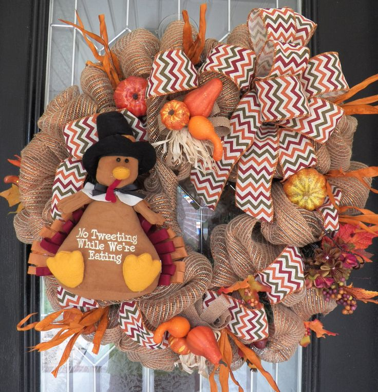 Burlap Fall Wreath, Thanksgiving Wreaths, Door Hanger, Thanksgiving Decoration, Burlap, Wreath for Door, Ready to Ship by OccasionsBoutique on Etsy