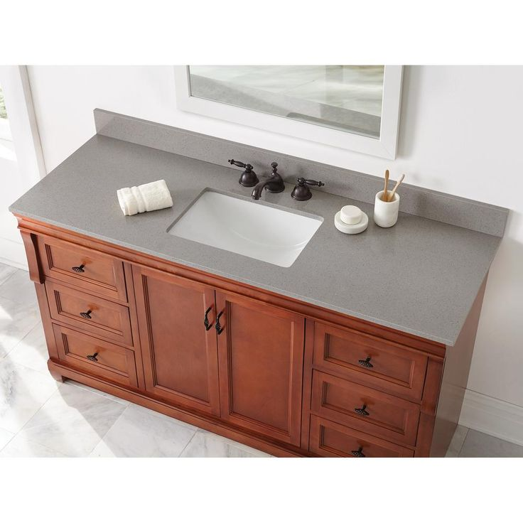 Home Decorators Collection 61 in. W x 22 in. D Engineered Quartz Vanity Top in Sterling Grey with White Single Trough Basin-61112 - The Home Depot