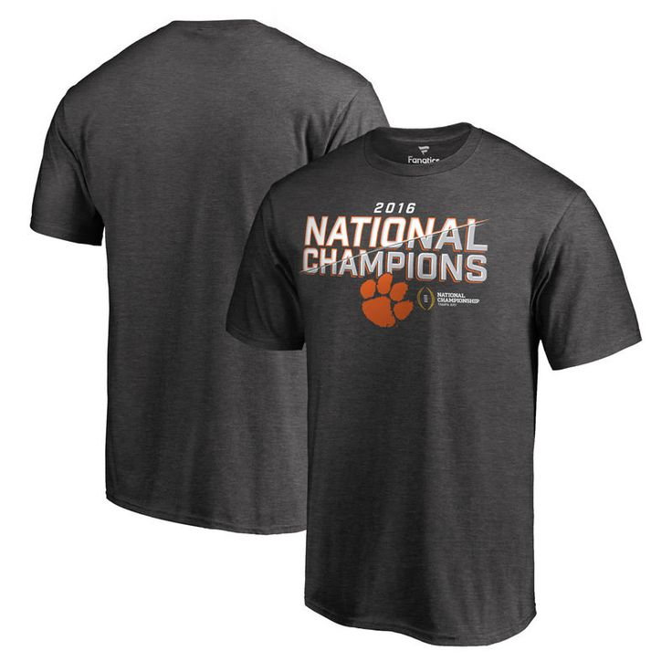 Clemson Tigers Fanatics Branded College Football Playoff 2016 National Champions Trophy T-Shirt - Heathered Gray