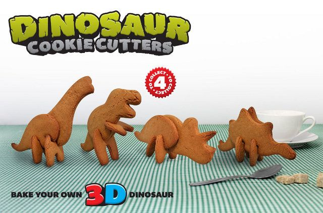 Built your own 3D dinosaur cookies with these cookie cutters. So awesome!