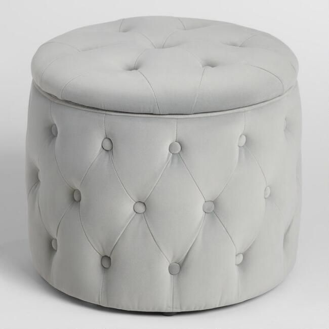Pastel Tufted Velvet Storage Ottoman Storage Ottoman Round