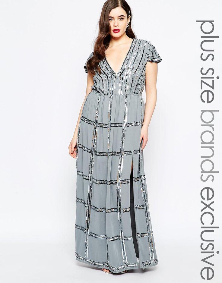 Image 1 ofLovedrobe Embellished Plunge Front Maxi Dress