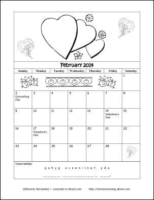 2014 Calendar Year - Printable Coloring Calendar: February 2014 Coloring Calendar