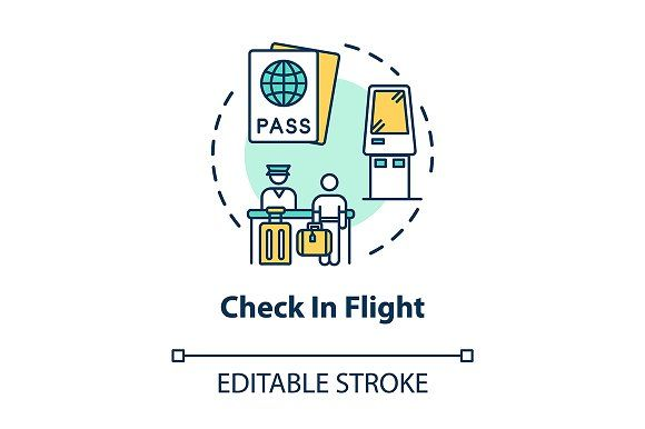 Check In Flight Concept Icon In 2020 Line Illustration Concept Colorful Drawings