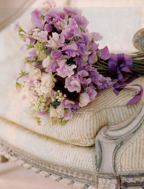Purple sweet pea wedding bouquet. // Via w-weddingflowers.