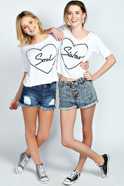 Darcy Soul Sister Twin Pack Crop Tee at boohoo.com