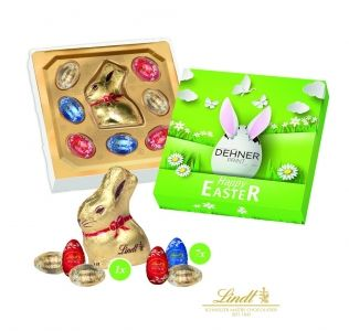 Promotional Easter gift box containing mini Lindt eggs and a Lindt Chocolate bunny