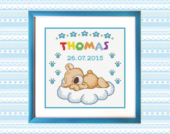 Personalised Cross Stitch Pattern PDF Little bear by TimeForStitch