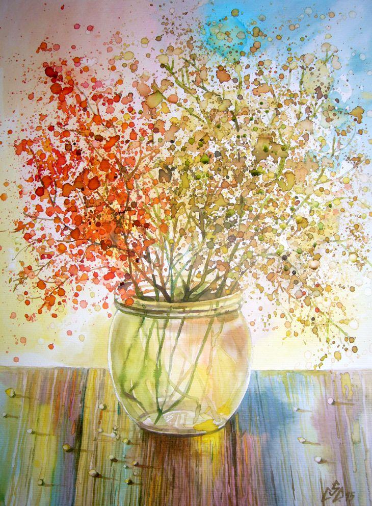 Wild Flowers 10 ,watercolor by Gabriela Calinoiu.Romanian painter.