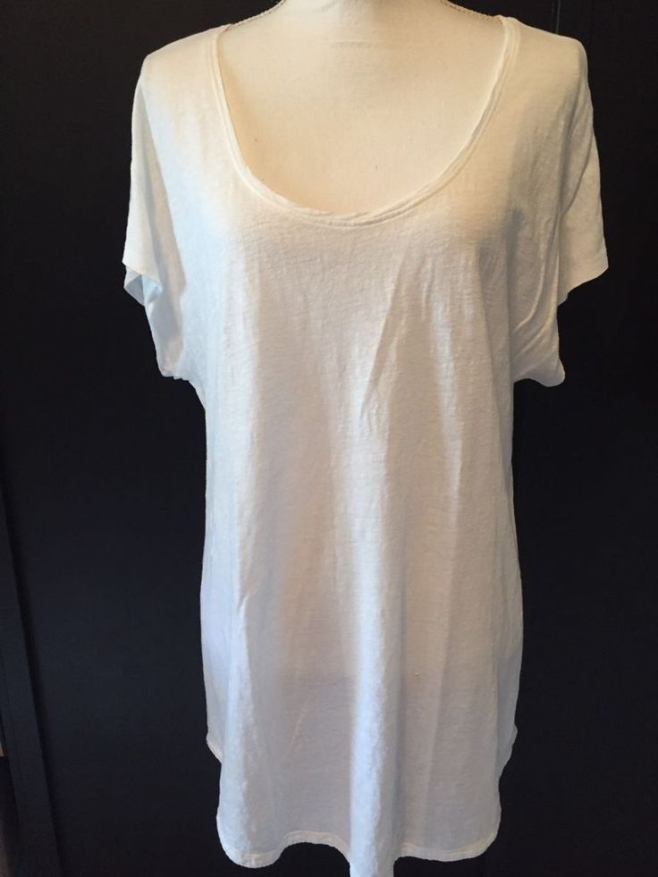 EILEEN FISHER Large 100% Fine Gauge Linen White Knit Oversized Long Tunic Size L #EileenFisher #KnitTop #Casual