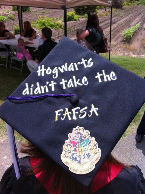 My grad cap :-) Because I'm awesome. And Hogwarts is also awesome, but they wouldn't give me a scholarship. I think it's because I'm a mudblood.