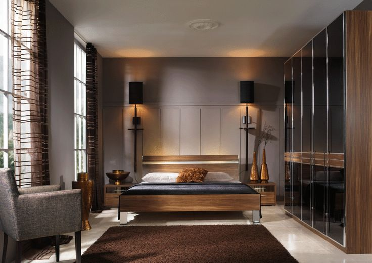 Мужская коричневая спальня   #коричневый #мужскойинтерьер #спальня