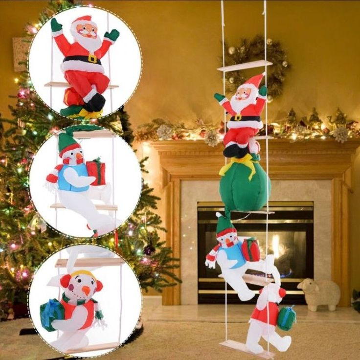 Inflatable Outdoor Christmas Decoration Winter Xmass Ladder Figures 2.4M Outdoor #InflatableOutdoorChristmasDecoration