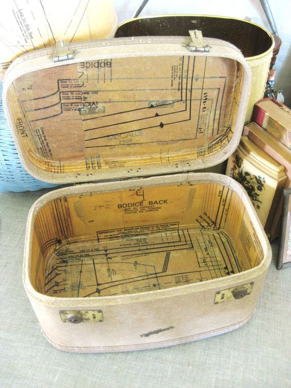 vintage train case lined with pattern paper.....have one that could use this!