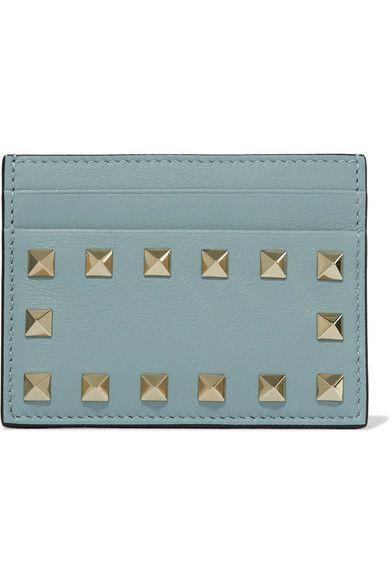 Valentino - The Rockstud Leather Cardholder - Sky blue