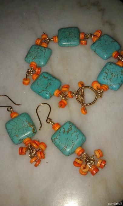 Love the orange and turquoise together. I'd use different orange beads, though.