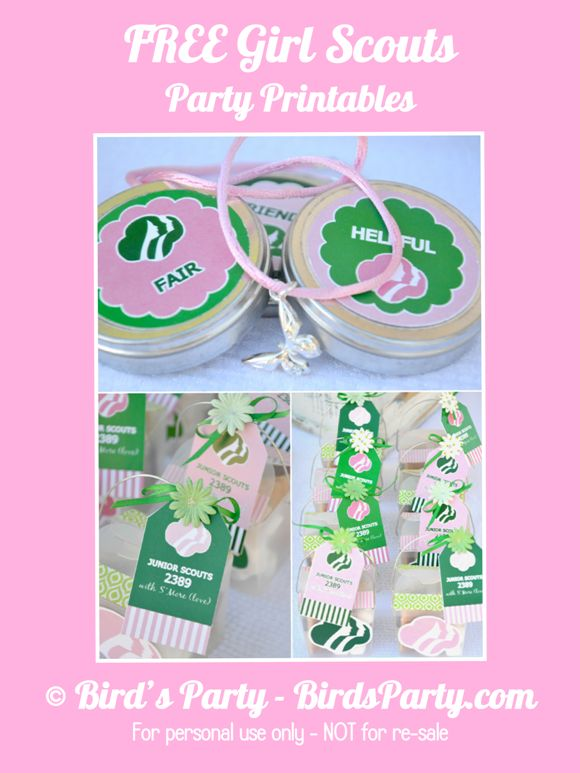 Girls Scout Party   FREE Printables! by Bird's Party.  Can't wait to use these for our bridging celebration!