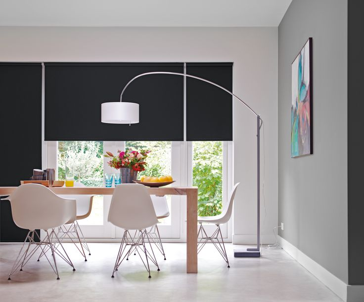 Sunway Quantum roller blind with black interior blockout fabric #dining #table #modern #style #design