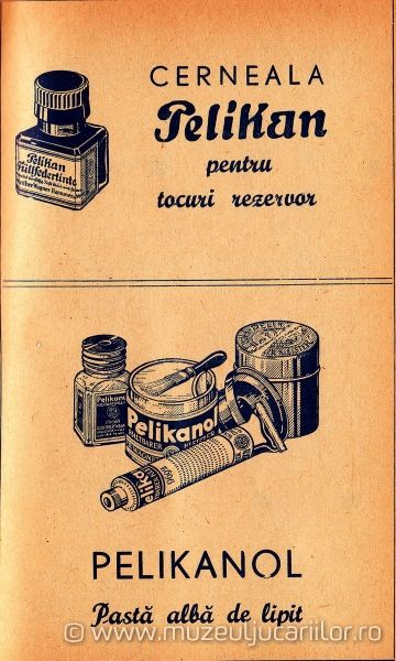 """Treasures"" to be found in my grandparents cabinets: Pelikan ink, Pelikanol, glue (advert, 1939; source muzeuljucariilor.ro)"