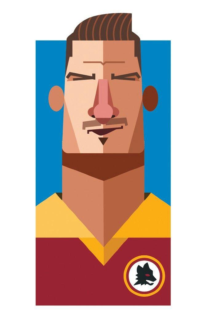 """Francesco Totti"", [Roma], soccer player, (2013) - Digital Illustration by Daniel Nyari (b. 1985, Romanian/New York)."