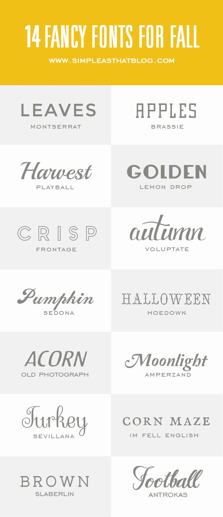 14 Fancy Fonts for Fall   simple as that