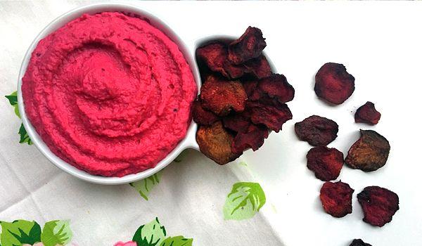 Beet Hummus with Beet Chips    #recipe #healthy #glutenfree #vegan