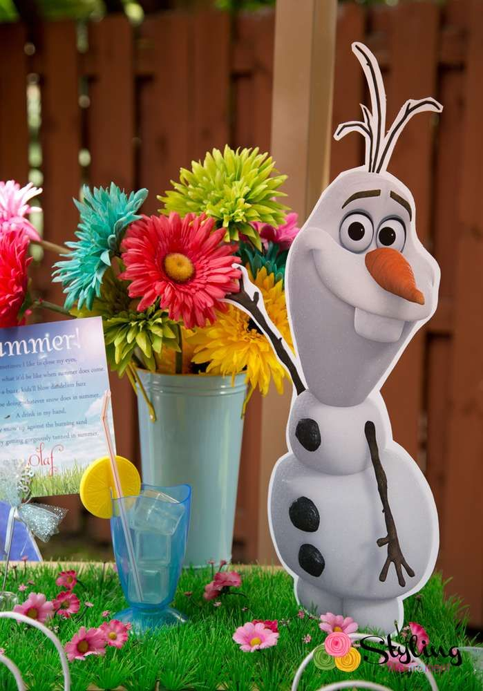 Olaf Decorations at a Frozen Birthday Party!  See more party planning ideas at CatchMyParty.com!
