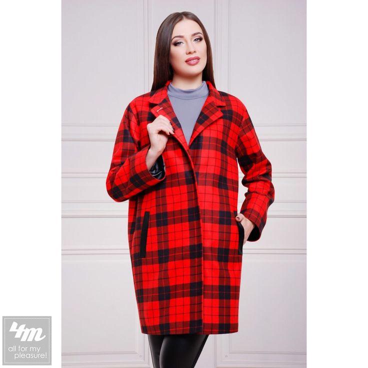 Пальто Glem «Клоди2» (Клетка красно-черноя)  Перейти в интернет-магазин: http://lnk.al/2PZu  Состав: кашемир (40% шерсть, 60% полиэстер) Длина изделия: 90 см, длина плеча и рукава: 70 см. Для всех размеров.