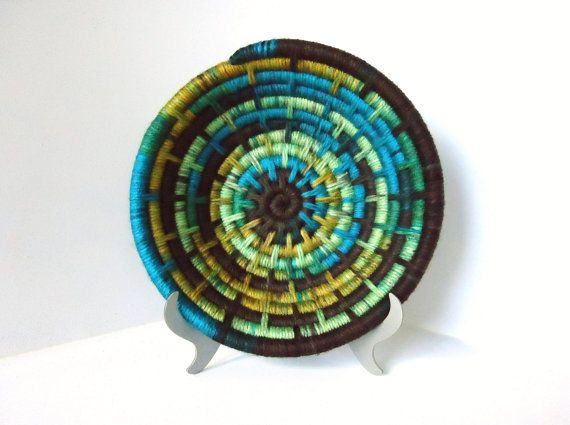 Yarn Coiled Basket, Storage Basket, Teal Brown Yellow Green on Etsy, $35.00