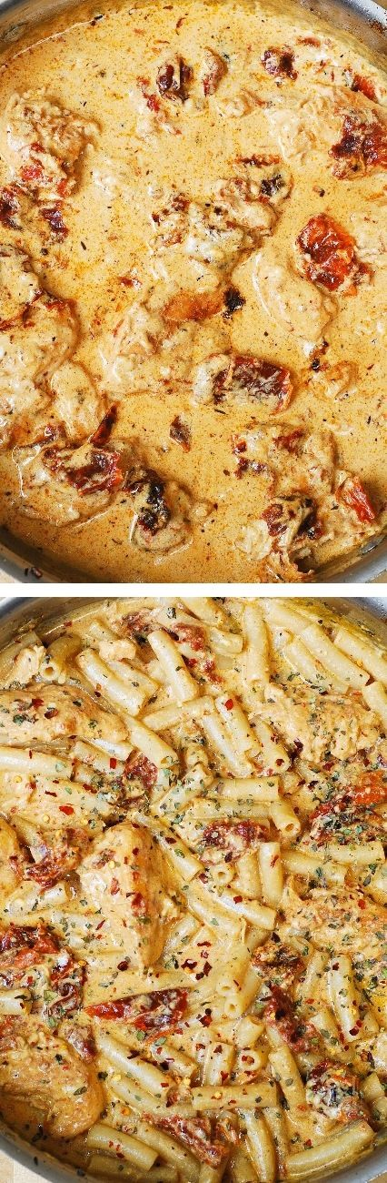 Chicken breast tenderloins sautéed with sun-dried tomatoes and penne pasta in a creamy mozzarella cheese sauce.