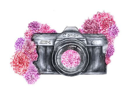 ❤️I would LOVE to do something like this with my camera tattoo.... I like the way the flowers are arranged. But I would totally change the type of flower and the camera would need to be a Fuji . ~KC
