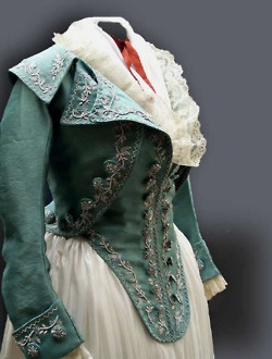 Reproduction of a silk embroidered jacket from   1790