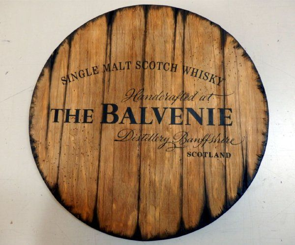 Personalized whiskey barrel top | Handpainted Balvenie artwork and your additional message on a distressed wood sign | Rustic wall decor