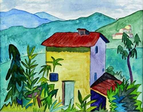 Hermann Hesse - Das Gelbe Haus (bei Montagnola) - Aquarell 1922