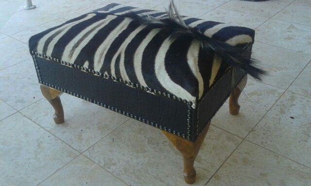 Zebra and buffalo leather ottoman by Ray's Leather - raysleatherwork@gmail.com