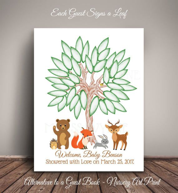 b1bbdd725643 Woodland bear   Friends Baby Shower Guest Book Tree Leaf Sign In ...