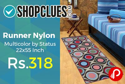 Shopclues is offering 41% off discount on Runner Nylon Multicolor by Status 22×55 Inch at Rs.318 Only. Enhance by beautiful Multicolor Nylon runner by Status on your floor.  http://www.paisebachaoindia.com/runner-nylon-multicolor-by-status-22x55-inch-at-rs-318-only-shopclues/