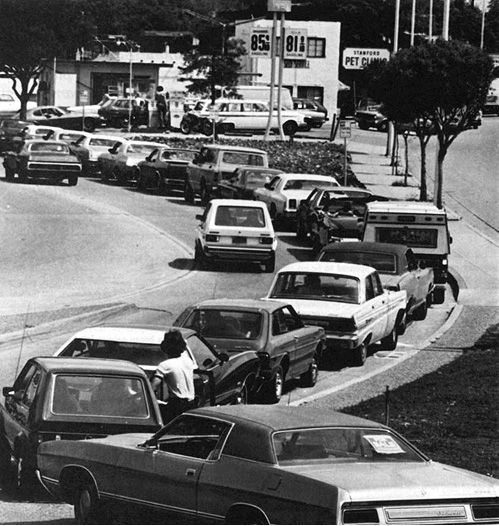 1970's Gas Crisis.  The oil cartel held back supply of gas driving of up the prices, long lines and eventually rationing.