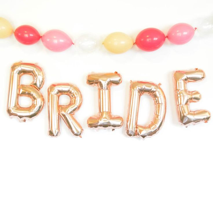 Celebrate the bride-to-be with these fabulous rose gold BRIDE balloons. A favorite bridal shower decoration that is classy and ultra easy! You will receive five 16 inch size rose gold balloons, to spe