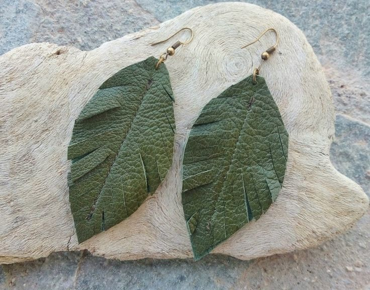 Leather Leaf Earrings Green Leather Leaf Earrings by MikaMikaBags