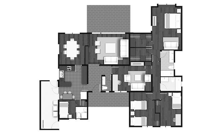Planta Casa Chilena 164 m2, Los Robles, Inmobiliaria Manquehue