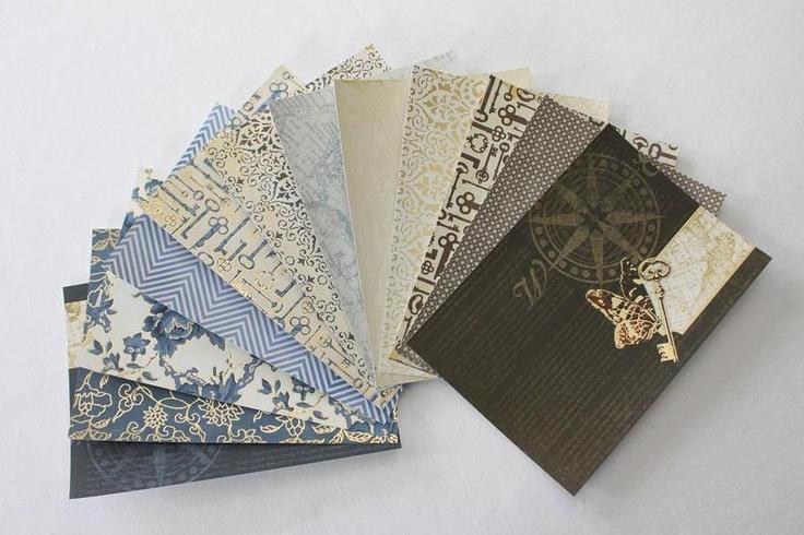 - 12 Blatt Scrapbookingpapier   - 230g  - einseitig  - verschiedene Muster  - geeignet für: Karten, Tags,    Geschenkanhänger, Scrapbookalben