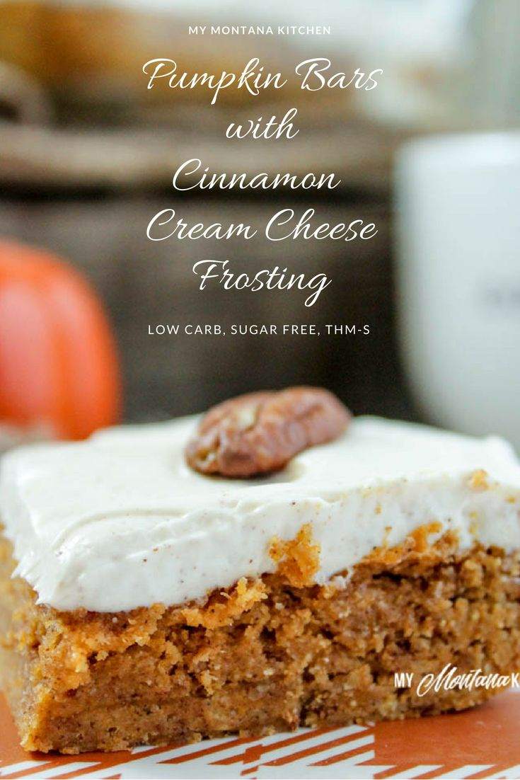 Sweet, dense pumpkin bars topped with a decadent cinnamon spiced cream cheese frosting. This recipe is low carb and sugar free.