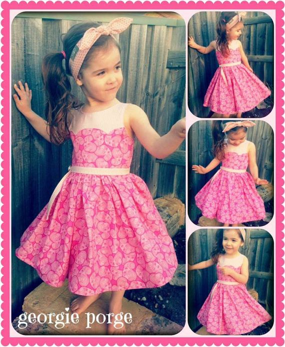 Girls Dress PDF Sewing Pattern Disco Party Dress Ainslee Fox