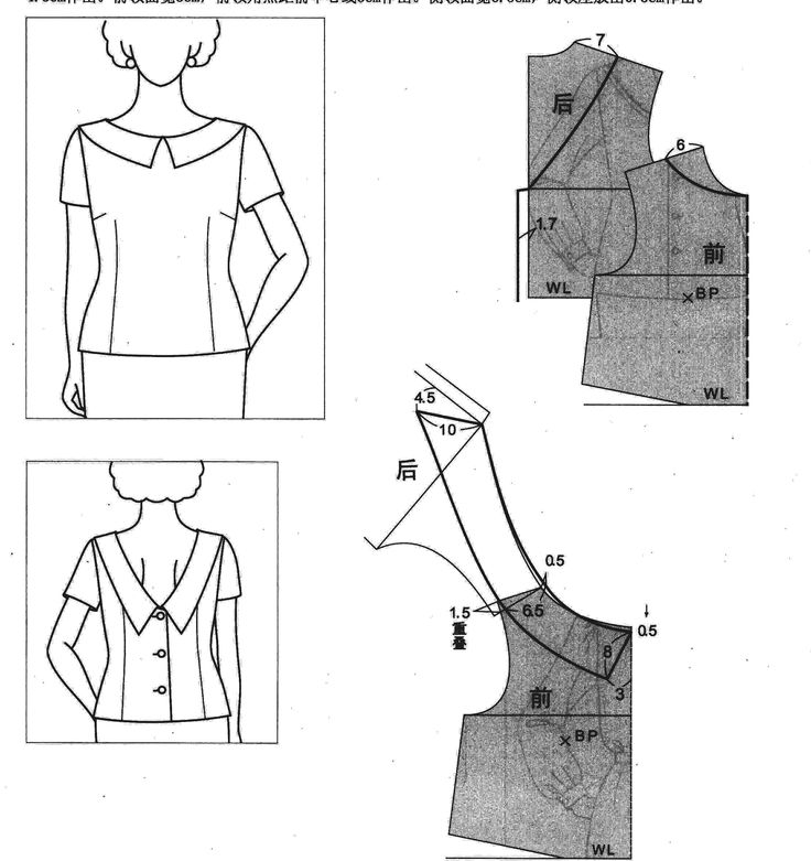 Blouse collar ,patterns instructions