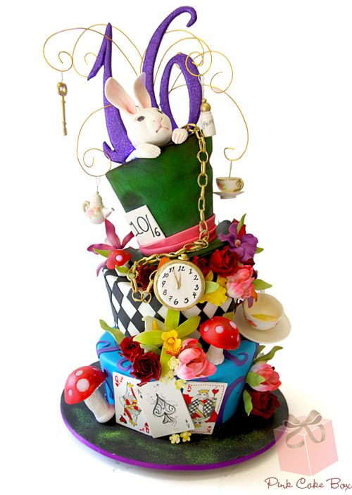 Alice in Wonderland Topsy Turvy Sweet 16 Cake by Pink Cake Box in Denville, NJ.  More photos at http://blog.pinkcakebox.com/alice-in-wonderland-topsy-turvy-sweet-16-cake-2013-04-06.htm  #cakes