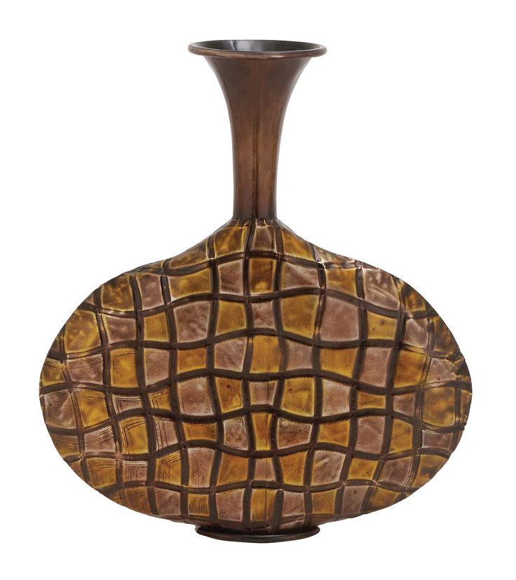 "19"" Brown Yellow Contemporary Decorative Art Vase Modern Decor"